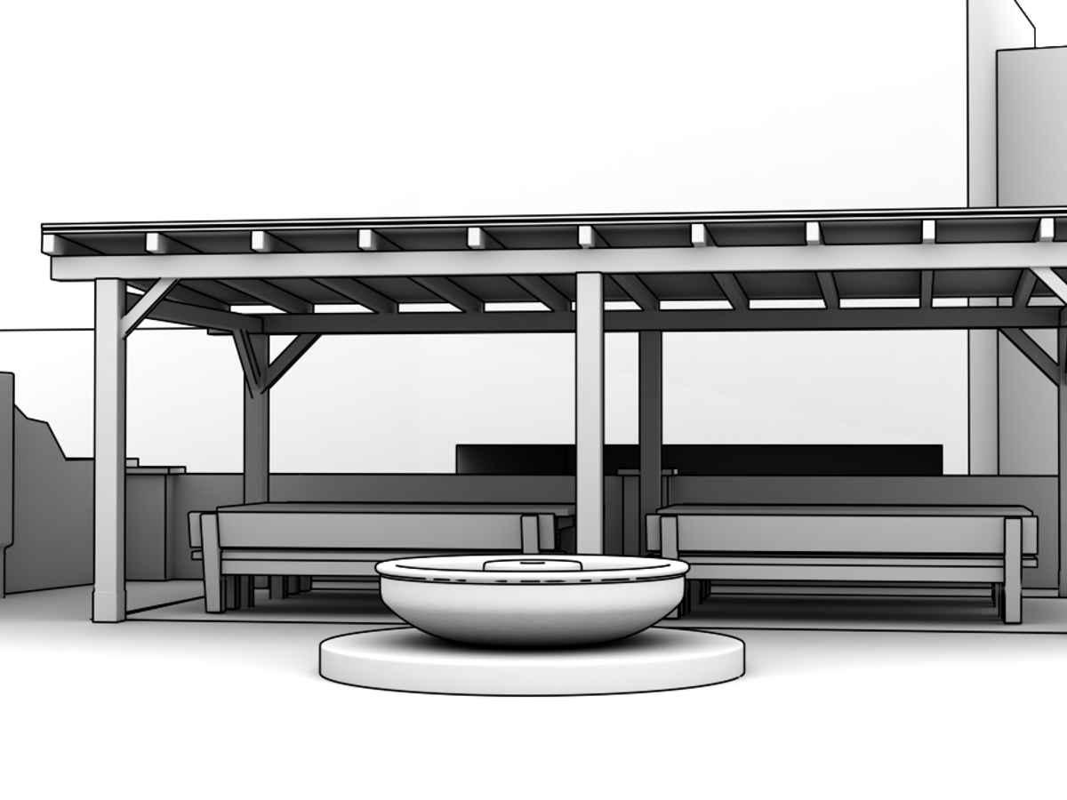 3D Visualisierungen Dresden - Schritt 2: Erste Skizze aus dem 3D Modell für die Abstimmung mit Auftraggeber vor dem fotorealistischen Rendering