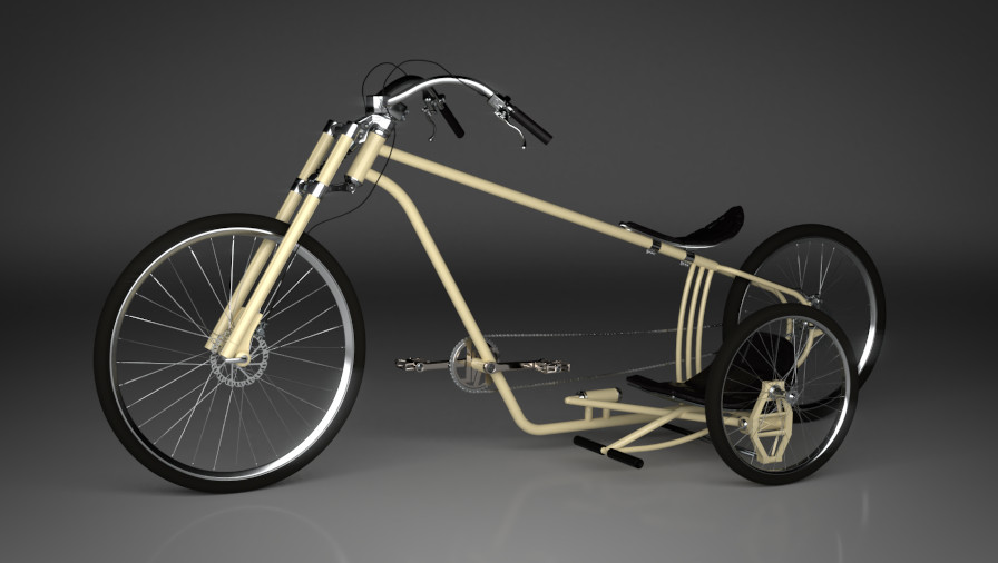 3D Visualisierung Dresden Industrie Beipiel Fahrrad Cruiser fotorealistisch mit Details und Beiwagen