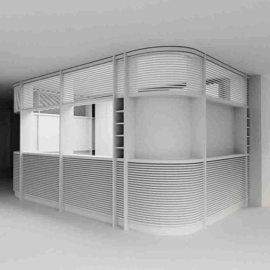 Beispielprojekt Schritt 1: 3D Visualisierung eines Innenraums mit Empfangstresen, erste Skizze für Kontrolle durch Kunden in geringer Qualität