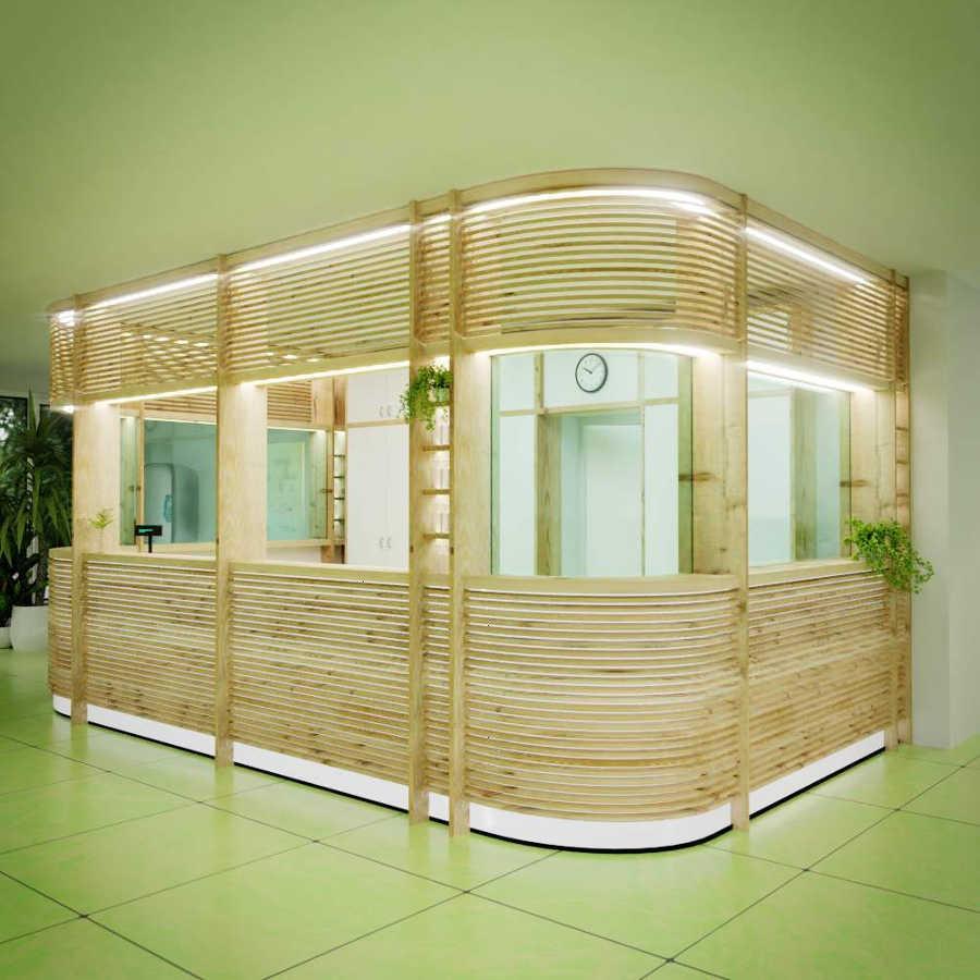 Beispielprojekt Schritt 2: 3D Visualisierung eines Innenraums mit Empfangstresen, erstes Rendering in hoher Qualität fotorealistisch