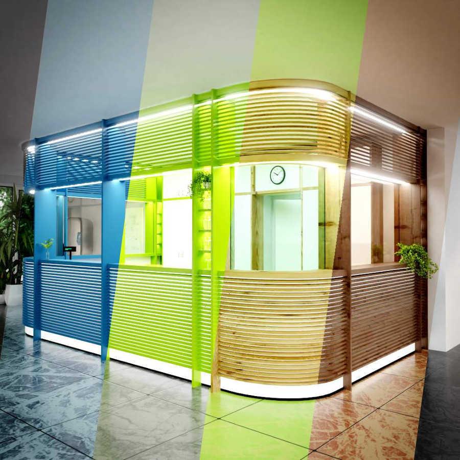 Beispielprojekt Schritt 3: 3D Visualisierung eines Innenraums mit Empfangstresen, Darstellung verschiedener Materialien und Farben